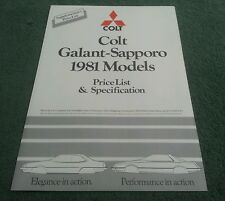 Oct 1980 / 1981 Model COLT SAPPORO & GALANT PRICE LIST SPECIFICATION UK BROCHURE