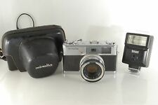 """As Is"" Minolta 7S 35mm Rangefinder Film Camera with Lens,Flash,Case from Japan"