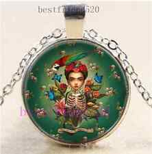 Skull Frida Kahlo Photo Cabochon Glass Dome Silver Chain Pendant Necklace