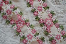VTG SCHIFFLI VENISE EMBROIDERED DAISY FLOWER RIBBON APPLIQUE LACE FRENCH TRIM