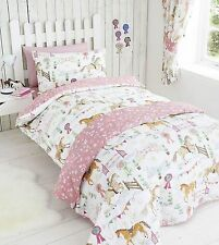 GIRLS PONY HORSE SHOW JUMPING PINK FLORAL REVERSE SINGLE BED DUVET COVER SET