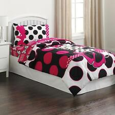 Twin Size Girls Pink Black Minnie Mouse Polka Dot Comforter Bedding
