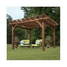 Garden Pergola Free Standing Outdoor Gazebo Wooden Wood Large 10 x 12 Cedar Kit