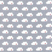 White Red hearts Clouds on Gray By The yard Comstocks Moda