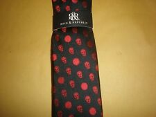 "ROCK & REPUBLIC MEN'S THIN SKULL TIE NEW BLACK & RED APPROX. 2.25"" AT WIDEST"