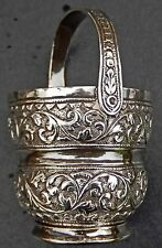 Exquisite Antique Indo Persian Islamic Solid Silver Miniature Pot; Kutch c1890