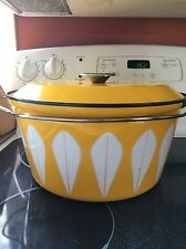 "Catherine Holm Yellow Lotus Dutch Oven Pot Huge 13""H Enamelware Vintage"