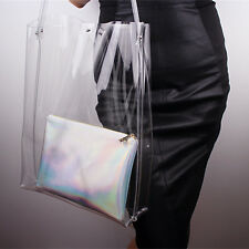 Clear Oversized Extra Large Tote PVC Vinyl Plastic Shopper Shoulder Bag Handle