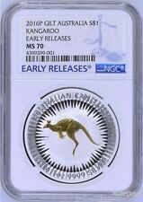 2016 P Australia GILDED Silver Kangaroo NGC MS 70 1 oz Coin w/OGP gilt ER LABEL