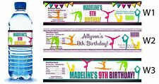 Gymnastics Tumble ~ Printed Water Bottle Labels ~ Birthday Party Favors Supplies