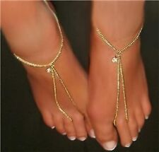 GOLD gep Slave Barefoot Thong Sandals Wear as Anklet or Bracelet Pair (2) USA