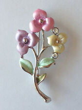 Flower Bouquet Brooch Pin Enamel Clear Crystal Silver Plated Free Shipping Gift