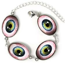 Human Eye Taxidermy Eyeball Horror Oddity Sterling Silver Glass Charm Bracelet