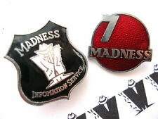 MADNESS - 2x OFFICIAL MIS FAN CLUB ENAMEL BADGES - SUGGS SKA TWO 2 TONE STIFF