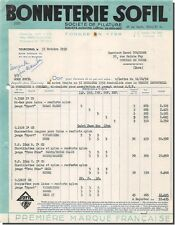 Invoice Hosiery SOFIL society of spinning in Tourcoing 1952
