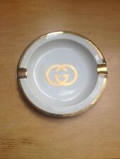 Vintage Gucci Ash Tray White & Gold Ashtray Cigar Plate Dish
