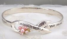 Silver Pink Pearl Ribbon Bangle Message Bracelet Fashion Jewelry NEW