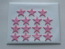 15 X EDIBLE CANDY PINK GLITTER STARS. CAKE DECORATIONS - MEDIUM 3cm