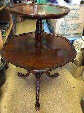Antique/ Vintage Round Mersman Mahogany Wood 2 Tier Pie Table Claw Feet Side End
