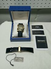 ROTARY EDITION MEN'S ROSE GOLD SQUARE PARTIAL SKELETON AUTOMATIC WATCH
