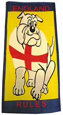 BEACH TOWEL BRITISH BULLDOG ENGLAND ST GEORGE FLAG BATH SWIMMING BLUE YELLOW