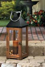 """large 20"""" tall brown wood metal Candle holder Lantern Lamp terrace outdoor patio"""