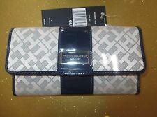NEW TOMMY HILFIGER WALLET CHECKBOOK ID $39 Retail GREY Dark Blue Patent Stripe