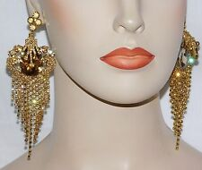 GOLD WITH GOLD RHINESTONE CRYSTAL CHANDELIER FASHION PARTY EARRINGS
