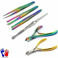Titanium Color Eyelash Extention Tweezers Cuticle Nippers Acrylic Nail Pincher