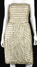 OSCAR DE LA RENTA R11 Nude Silk Gold Beaded Embellished Cocktail Dress 12