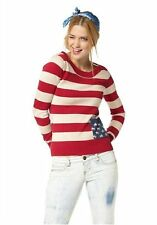 AJC girls Pullover USA Stars and Stripes Feinstrick Rundhals rot-blau-weiß 36