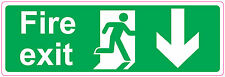 [ 300x100mm ] FIRE EXIT - DOWN - STICKER/SIGN - Health and Safety - Direction