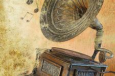 Framed Retro Vintage Print – Old Gramofon (Music Gramophone Picture Poster Art)