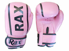 R A X Rex Leather  BOXING GLOVES Muay Thai Grappling Pad Punch Bag MMA UFC 4 OZ