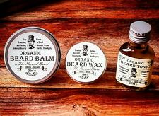 Organic Beard Oil, Beard Balm, Beard & Moustache Wax Kit by Revered Beard.