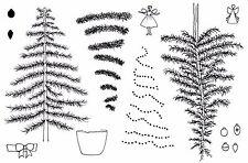 Tagliare l'albero di Natale Unmounted Rubber Stamp Set - 5084