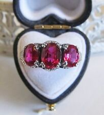 Ruby Sterling Silver Filigree Three Stone Ring Antique Vintage Victorian