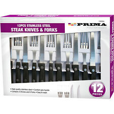 Prima 12 Piece Stainless Steel Steak Knife and Fork Set FREE POSTAGE