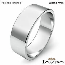 Wedding Band 7mm Plain 18k White Gold Women Flat Pipe Cut Ring 6.9gm Sz 5 - 5.75