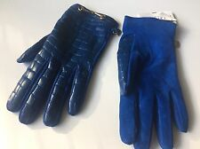 Moschino Cobalt Royal Blue Leather Crocodile Suede Leather Gloves