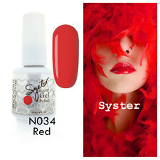 SYSTER 15ml Nail Art Soak Off Color UV Lamp Gel Polish N034 - Red
