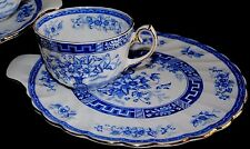 ANTG GLADSTONE BLUE RHAPSODY BONE CHINA ENGLAND TEA CUP LUNCHEON SNACK SET GOLD