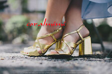 ZARA NEW mettalic gold crossover block heel strappy sandals size 4