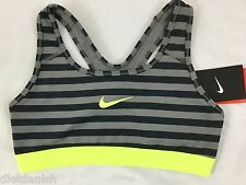 Nike Pro Dri-Fit Women's Sports Training Bra Black Grey Neon Stripe Size S