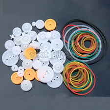 84pcs Pulley Plastic Gears Kit Rubber Belt Robot Part DIY Car Truck Models Hobby