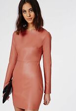 MISSQUIDED SALMON PINK LEATHER LOOK DRESS SIZE UK8 EUR36