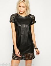 Muubaa Black Folye Laser Cut Casual Mini Leather Shift Party Dress 8 36 US 4 New