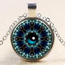 Vintage magic Eye Cabochon Tibetan Silver Glass Chain Pendant Necklace #B168