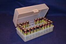 AA Battery Plastic Storage Box Bin Container HOLDS 50 BATTERIES !  CLEAR COLOR