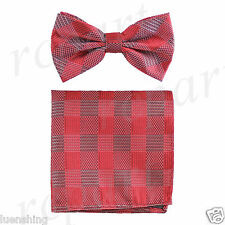 New In Box Men's Plaid Pre-tied Bow Tie And Hankie Set Formal Party Prom Red